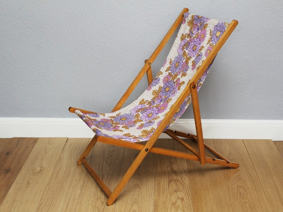 Vintage Retro Wooden Deck Chairs with 1970s Floral Fabric Seat