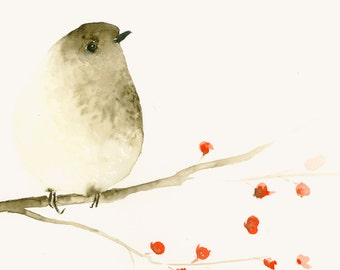 Tiny Bird Watercolor Print Artwork