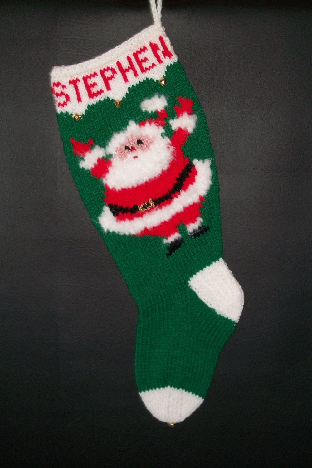 Christmas Stocking Hand Knitted Custom Order Vintage Style