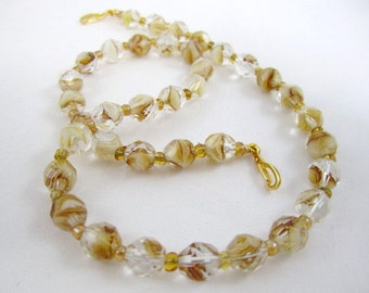 Shop CLOSING SALE< Cream and Topaz Clear Swirl Faceted Interchangeable Multi Strand Necklace Faceted Swirl Czech Glass beige brown clear