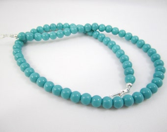 Shop Closing coupon Sale! Turquoise Baked Porcelain Glass Necklace for Interchangeable Multi Strand Collection, multi wear, mix or match