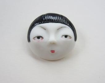 Little head Face Handmade Porcelain Ceramic Brooch