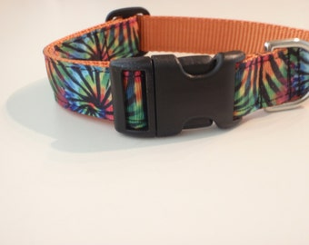 Tie Dye Orange Dog Collar