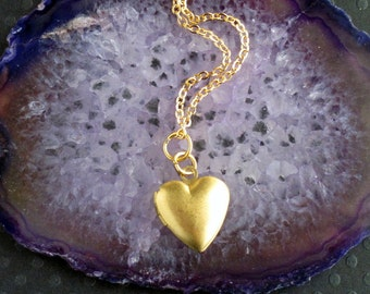 raw brass heart locket gold necklace
