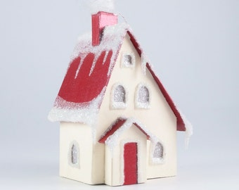 Christmas Village Glitter House Ornament - Tudor Revival