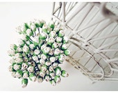 Mulberry Scrapbooking paper flower tiny white rose Buds for crafting, wedding decoration / pack