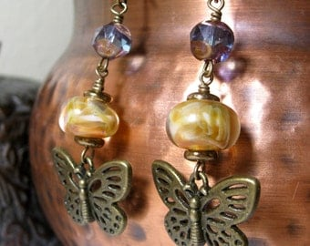 Butterfly Earrings With Handmade Lampwork Beads and Czech Glass Sunflower Yellow and Blue  with Bronze