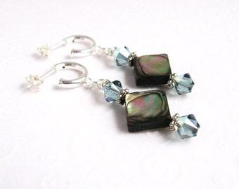 Abalone Earrings, Paua Shell Earrings, Colorful Shell Earrings, Geometric Earrings, Hoop Earrings with Dangles, Abalone Shell Jewelry