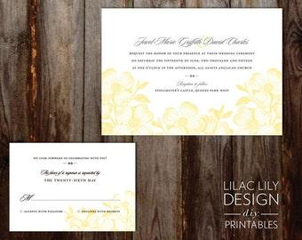 Gray and Yellow Wedding Invitation, Yellow Flower Wedding Invitation, DIY Printable, Script, Digital Invitation