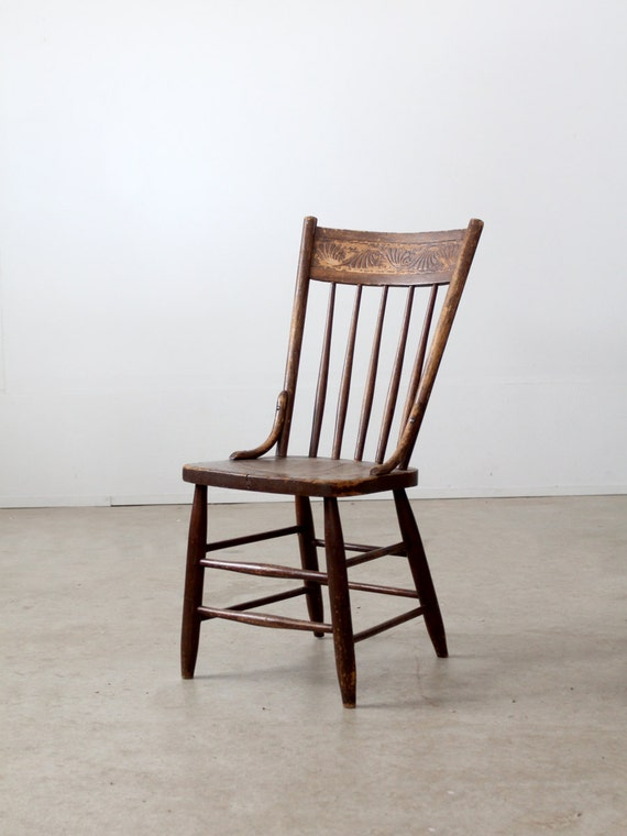 Free Ship Antique Wood Chair Pressed Back Spindle Chair