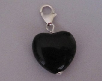 Natural BLACK ONYX HEART gemstone sterling silver clip on charm pendant fits link bracelet, Healing stone, Grounding stone,