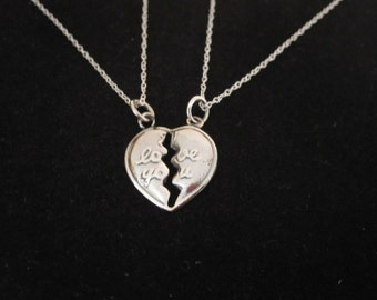 LOVE YOU split sterling silver charm with two sterling silver necklaces chains, friendship, love necklaces