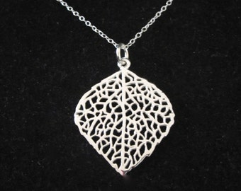 925 Sterling silver filigree skeleton LEAF pendant necklace with sterling silver chain, organic, woodland jewelry