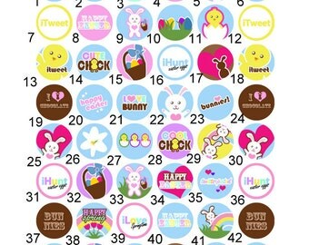 Spring Easter Bunny 1 inch Pinback, Flatback Button or Badge set of 10
