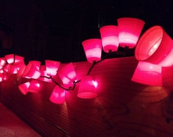 Red Mini Solo Cup Light String - 50 shot glass size cups per string with white (clear) mini-lights
