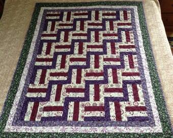 Purple burgundy white post rail patchwork lap quilt