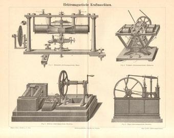 1890 Electromagnetic Machines, Electric Machines, Electric Motors by Helmholtz, Stöhrer, Froment Antique Engraving