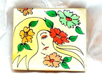 FAB 60's Compact Mod Women and Flowers Hippie groovy Abstract Art Fashion Collectible Boho