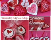 Valentine Party Printable Favor Tags - INSTANT DOWNLOAD - Zebra Print Hearts