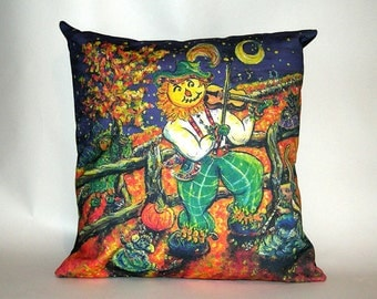 "Children's Fairy Tale Pillow Cover - Scarecrow Fiddling - ""Fiddler's Eve - Fall"""