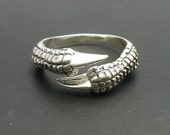 R000163 STERLING SILVER Ring Solid 925 Claws Raven Dragon Biker Gothic