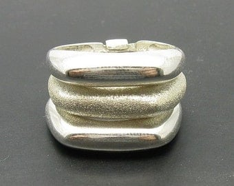 R000342 STERLING SILVER Ring Solid 925 Triple Band With Lazer One