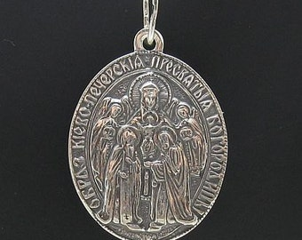PE000636 Sterling silver pendant   solid 925 Mother of God orthodox handmade