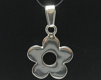 PE000418 Sterling silver flower pendant solid 925