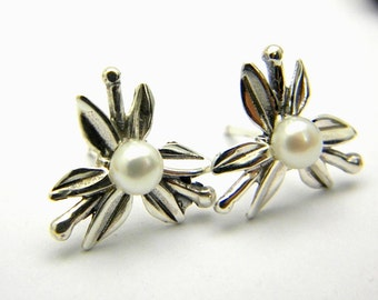 sterling silver pearl earrings flower pearl studs star flower post earrings ,wedding jewelry