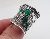 Hadar Jewelry Handcrafted 925 Sterling Silver Green Agate Ring size 8, Green Stone ring, Israeli Jewelry, Birthday gift, Everyday  (H 144)