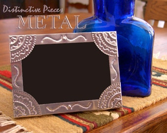 "Metal Picture Frame - Multi Scrolls - Southwestern, New Mexican Tinwork Style, 5 x 7"" Photo Frame, Folk Art, Metal Punchwork Frame, FM0507-K"