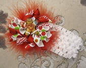 Christmas Gingerbread Holiday Korker Bow Clip