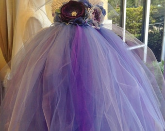 Purple, Plum & Periwnkle Blue Boutique Style Tulle Tutu dress set Ready to ship! Fits age 1-3