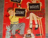 First Steps Read Write Count Color Book, Instructional, Merrill Company 1953, Beginner Kindergarten