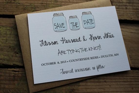 Mason Jar, Rustic, Wedding, Save the Date Invitation / Country Save the Date / Barn Save the Date / Wedding Invitation / Mason Jar Invite