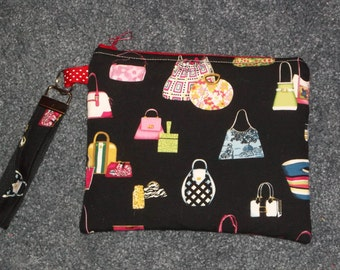 Handbags purse cosmetic pouch zippered bag with key fob Purses