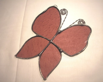 LT Stained glass mauve Butterfly suncatcher light catcher ornament made with a heavily textured mauve clear glass