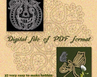 37 very easy to make bobbin lace patterns with colored diagrams and more.