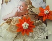 BURLAP Wedding Garter Set, Ivory Lace Garters, Burnt Orange Garters, Kanzashi Flower, Peacock Garters, Rustic Barnyard Harvest Weddings