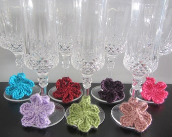 Crochet Large Flower Wine Charms