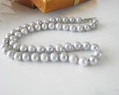 8mm pale grey fresh Water Pearl Sterling Toggle Single Strand 18 Inch Long Wedding Bridal Necklace