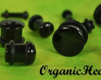 "Black Onyx Single Flare Stone Plugs 8g-1/2"" (Sold as Pair) Handmade Body Jewelry Organic Plugs (8g, 6g,4g, 2g, 0g, 00g, 1/2"")"