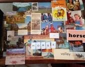 Vintage pack of paper ephemera -horse scrapbooking - cowboy art journaling
