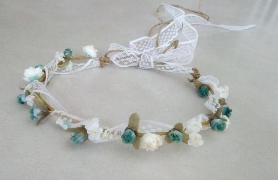 Bridal Flower Wreath For Hair : Woodland bridal floral crown hair wreath shabby robin egg blue