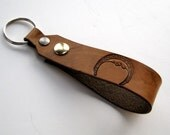 Tan Leather Key Fob Moon Pagan Wiccan Snap Loop for Belt or Pack Keychain Wristlet