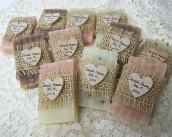rustic wedding favors, pink, ivory, and brown tomes, 30 mini soaps, bridal shower, personalized, select how many you need!