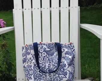 SALE!  SAVE 15%  Blue Floral Toile and Red Polka Dot Oilcloth Tote Bag / Dance Bag/  Purse/ Swim Bag / Waterproof Bag / Beach Bag / Swim Bag