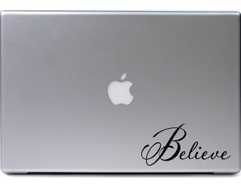Macbook - Believe apple - religious car truck sticker cute puppy dog bumper sticker decal