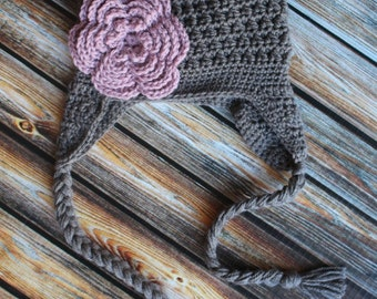 Crochet Chunky Earflap Hat with 5 layer flower Girls Textured Hat