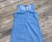 adorable FADED GLORY 1990s vintage denim mini jumper dress with button